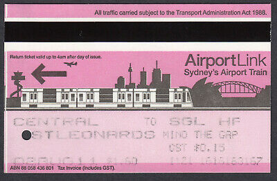 CityRail Airport Link, Train Ticket Sydney Collectible Railroadiana Discontinued