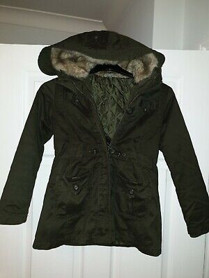 Girls Zara Green Faux Fur Hood Casual Jacket Coat Kids Age 9/10 Yrs 3In1 Quilted