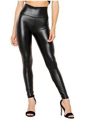 Ladies Black Faux Leather High Waist Leggings Wet Look Shiny Stretchy Pant Tight