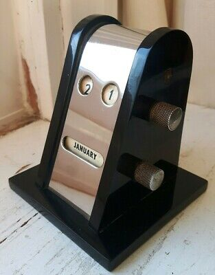 Superb Vintage Art Deco 1930s Perpetual  Desk Calendar Chrome & Bakelite