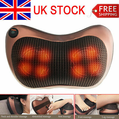 Electric Lumbar Neck Back Massage Pillow Massager Kneading Cushion Heat Home Car
