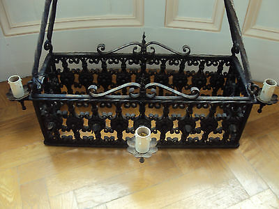 1880's Arts&Crafts Medieval Castle Gothic Wrought Iron Chandelier,35x19 inches