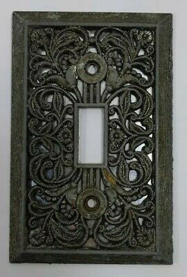 Vintage Metal Single Toggle Plate Light Switch Cover Ornate Swirls Patina