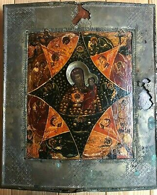 "Antique 18c Russian Hand Painted Wood Icon ""Burning bush"""