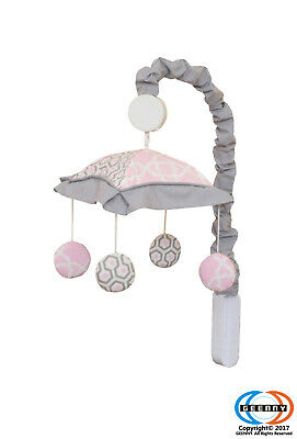 Pink Grey Bohemia Geometry Musical Mobile By GEENNY