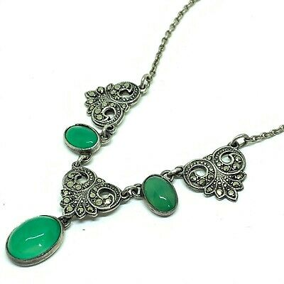 Antique Art Deco sterling silver marcasite and chalcedony necklace