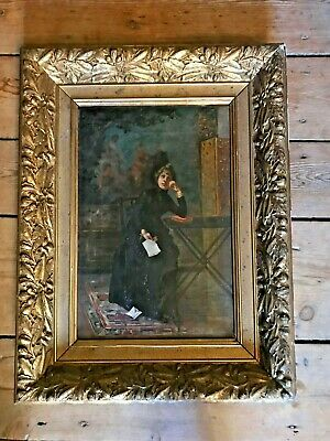 Superb 19th Century French Portrait - THE LETTER - Oil Painting Gilt Frame