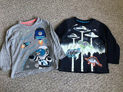 Boys 2-3 Blue Zoo (debenhams) Glow In The Dark Space/Dino Tshirts