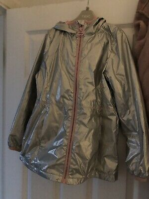 Girls Next Silver Raincoat Age 9 Immaculate