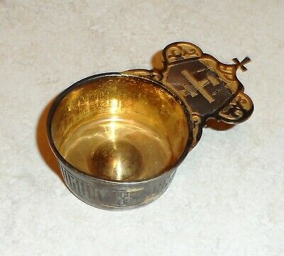 ANTIQUE IMPERIAL RUSSIAN SILVER CHURCH WINE? BLESSING? CUP 19th CENTURY ENGRAVED