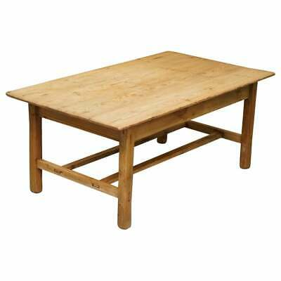 Large Wide Vintage Farmhouse Refectory Dining Table With Twin Stretchers In Pine