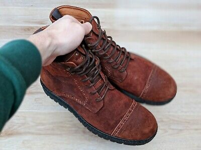 Walk London UK 9 Brown Boots Men's Leather Worn Look Lace Up