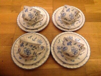 BHS . Bristol Blue Pattern ( 4 Tea / Coffee Trios )