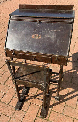 Antique Victorian Solid Wooden Childs School Desk And Chair Tri-Ang