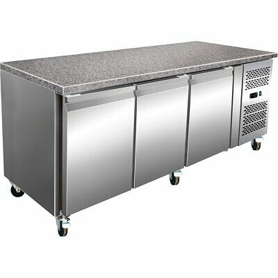 Refrigerated Counter with Marble top 3 door fridge pizza or bread making