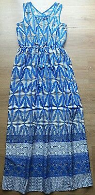 ❤ Young Dimension Age 11-12 Years Blue/White Silk Feel Maxi Dress Bnwt Primark ❤