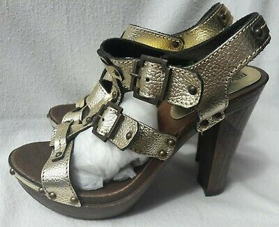 RIVER ISLAND SIZE 6/39 GOLD LEATHER PLATFORM CLUBBING SANDALS SHOES BNWT FREEp&p