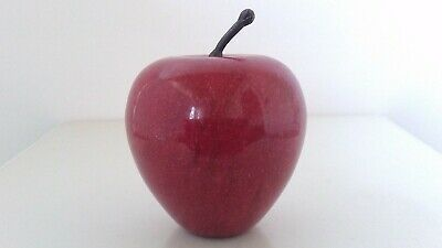 Vintage Red Marble Alabaster Stone Apple Paperweight Teacher Desk Albert Price