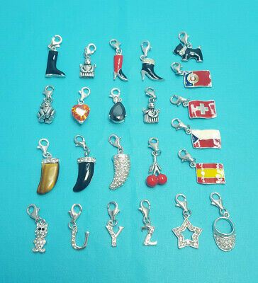 European Style Clip On Sterling Silver Charm Flag U Y Z Angle Dog Boot Star Cat