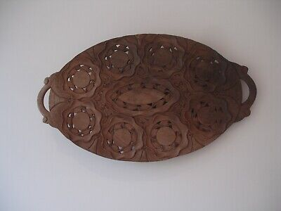 Large Vintage Wooden Oval Wall Carving / Plaque / Platter