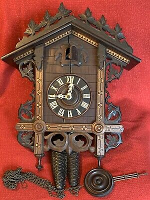 Large Antique German Railroad Style Cuckoo & Quail Clock Project NO RESERVE!