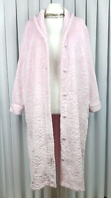 M&S Size 22 Ladies Dressing Gown Button Robe Super Soft Pale Pink Cosy Warm VGC