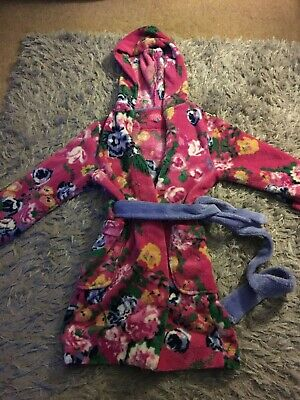 Girls Joules Soft Dressing Gown Bath Robe Pink Flower Velour Plush Age 7-8 Years