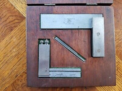 "Starrett Co No.453 & No.20 Die Maker's Steel Squares w/2.5"" rule & ORIGINAL CASE"