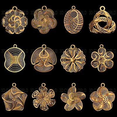 12 Pieces 3D STL print File Jewelry Turkish Model Earring for CNC Printer