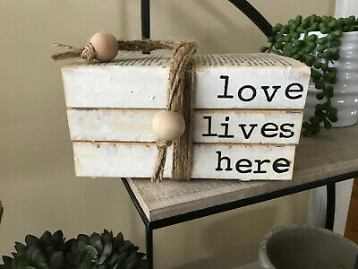 Stamped Books Farmhouse Decor Love Lives Here