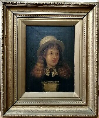 Antique Oil On Canvas Portrait Of A Girl -  Gilt Framed 19Th Century Painting