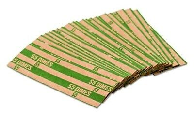 MMF Industries Pop-Open Flat Paper Coin Wrappers, Dimes, Green, 1000 Ct Wrappers