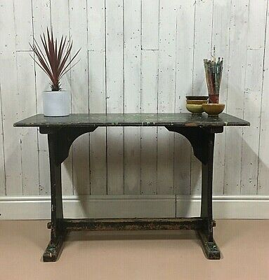 Artists Studio Table Rustic Work Bench Luxe Painted Trestle Cafe Refectory Pine