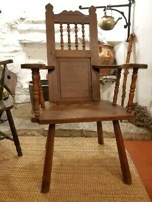 A Large Arts And Crafts Period Primitive Oak Chair Northern