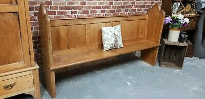 Beautiful Chic Large Church Pew Bench Carved Detail Solid Wood Pine