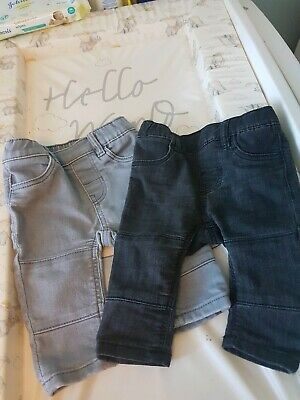 H&M baby boys 2 pair of denim leggings grey/black age 4 - 6 months