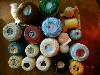 Lot of 20 Crochet Thread, Various Colors & Sizes