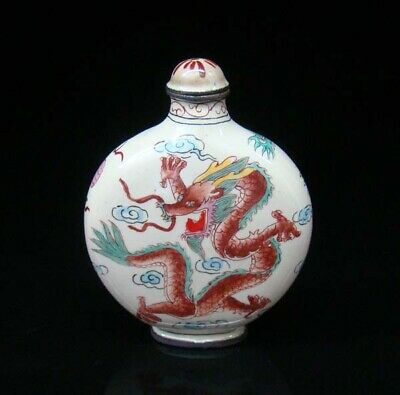 Collectible 100% Handmade Painting Brass Cloisonne Snuff Bottles Dragon Phoenix
