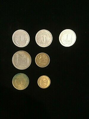 France Coin Lot - 1921 to 1954 Francs 7 Coins
