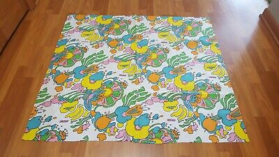 RARE Vintage Mid Century retro 70s 60s Peter Max bright floral large fabric! WOW