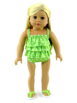 """Doll Clothes 18/"""" Bathing Suit Purple White Polka Dot Ruffle 2 Piece fits AG Doll"""