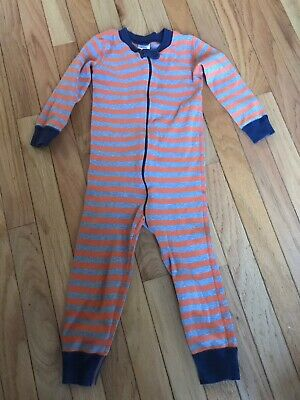 Hanna Andersson Boy's Outfit Size 3 Orange Grey Navy Striped Zip-front VGUC