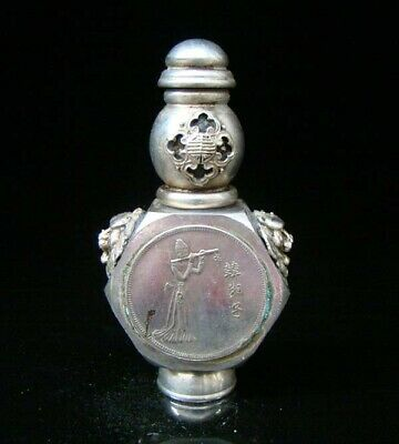 Collectible Handmade Carved Statue Copper Silver Snuff Bottles Eight Immortals