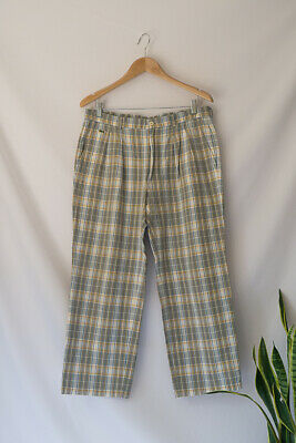 Lacoste Chemise Vintage Checked Cotton Trousers Size 32 34 12 14 Loose Fit Grey