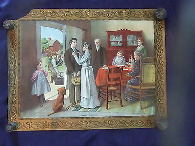 Vtg Antique Currier & Boyce Chicago 1907 Gray Co Lithograph Leaving The Old Home