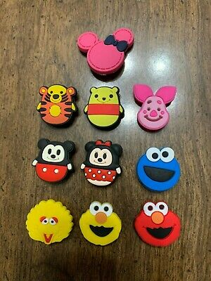 Sesame Street, Pooh, Piglet, Minnie Ears 10 pc Shoe Charms Bracelet Charms