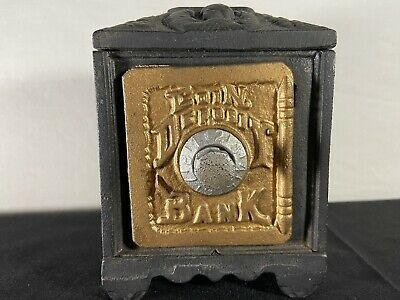Antique Cast Iron Safe Coin Deposit Bank Combination Lock Black Metal Novelty