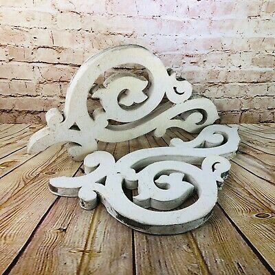 """Pair Vtg Wood Corbel Brackets Shabby Chic Architectural Salvage gingerbread 27"""""""