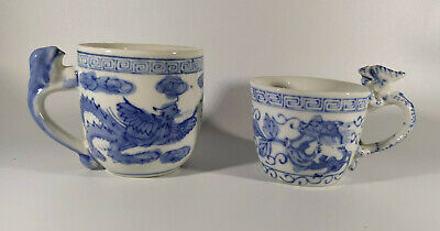 Vintage Hand Painted Blue and White Chinese Dragon Handled Cups
