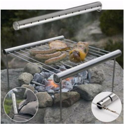 Stainless Steel Portable BBQ Barbecue Grill Rack Outdoor Picnic Camping Stand